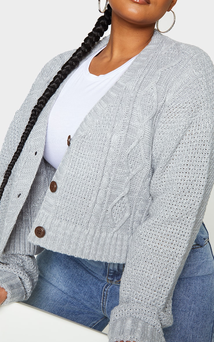 Plus Light Grey Cable Cropped Cardigan 4