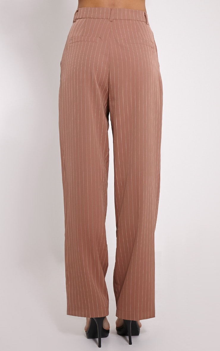Adalyn Camel Pinstripe Wide Leg Trousers 4