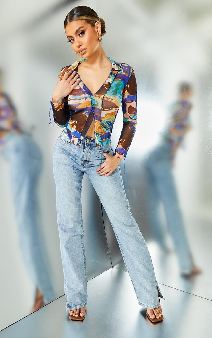Blue Printed Mesh Contrast Seam Shirt 3