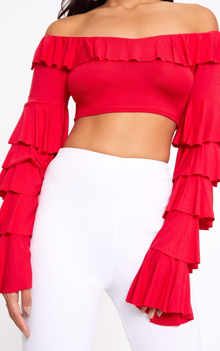 Red Bardot Frill Sleeve Crop Top  4
