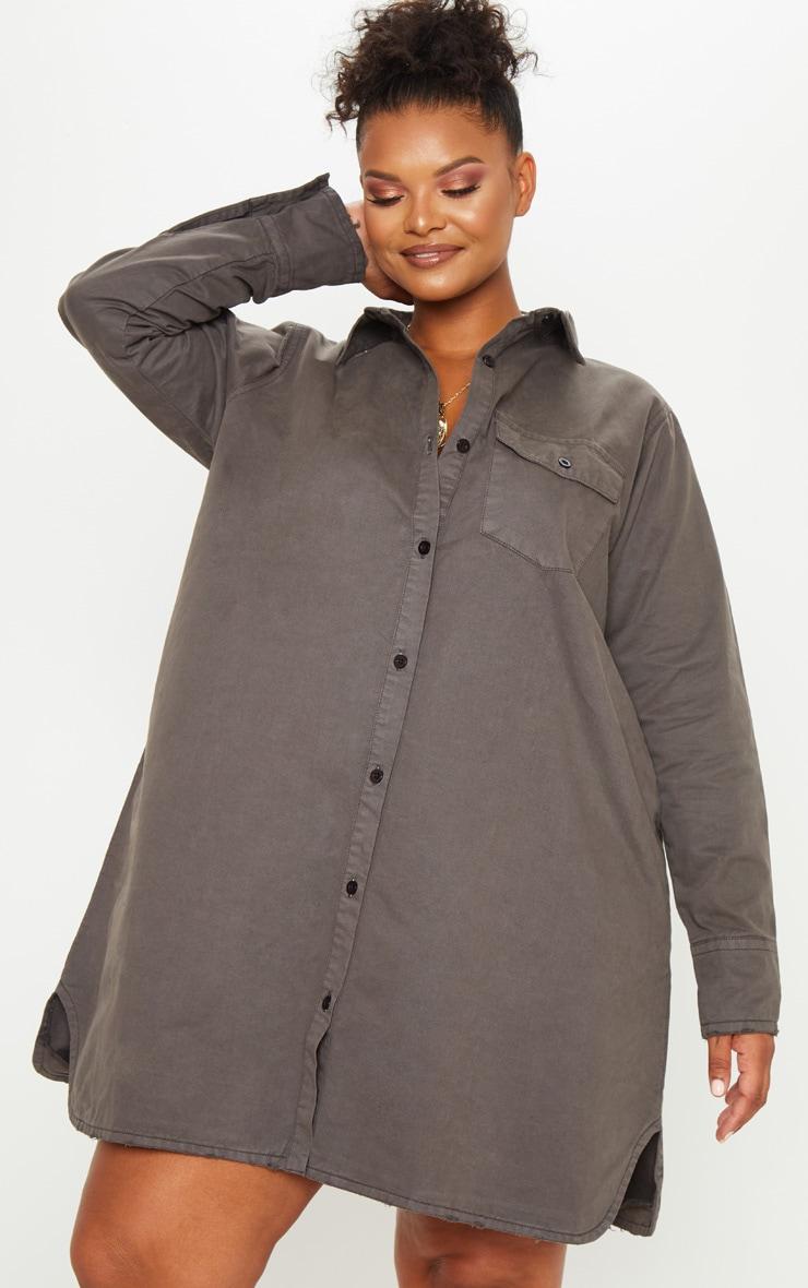 Plus Charcoal Oversized Denim Shirt Dress 3