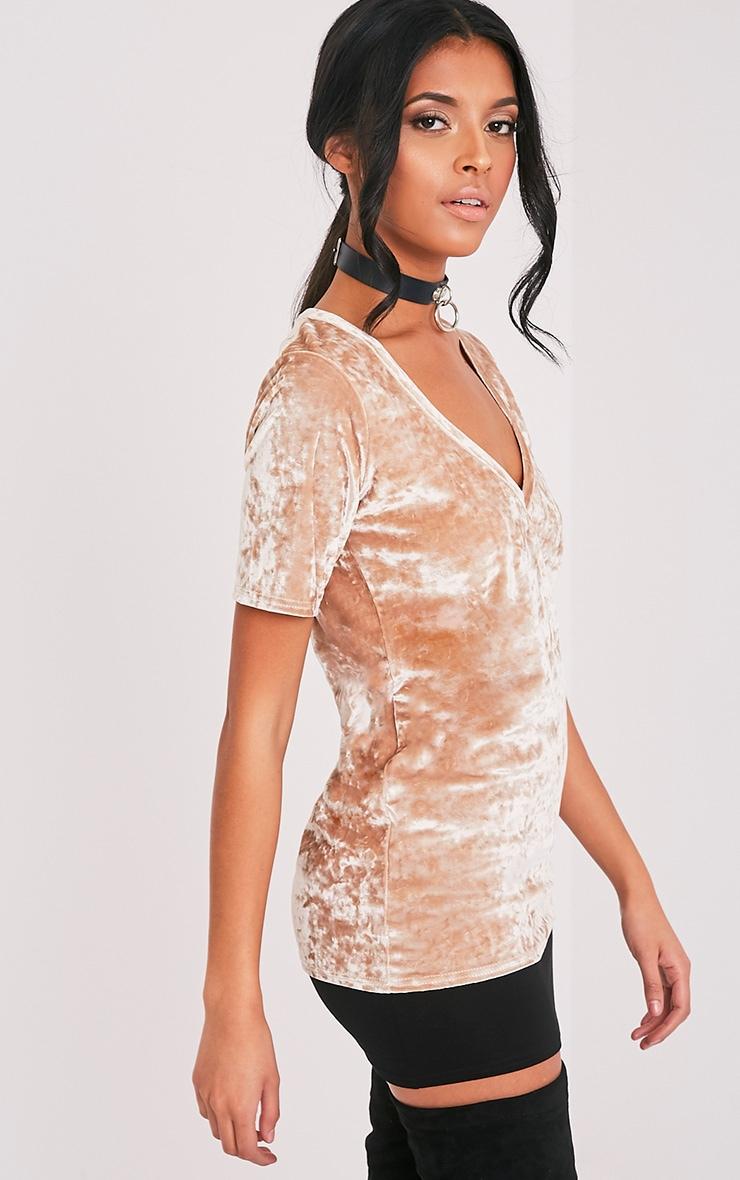 Suri t-shirt surdimensionné côtelé en velours champagne 4