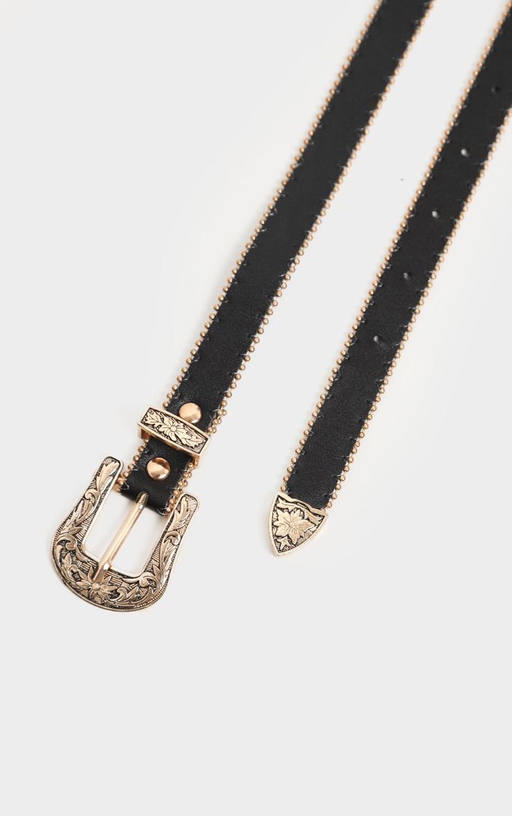 Black Skinny Gold Double Western Belt 3