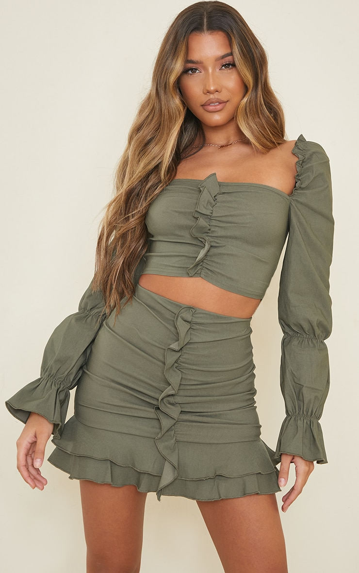 Khaki Woven Stretch Frill Ruched Front Mini Skirt 4