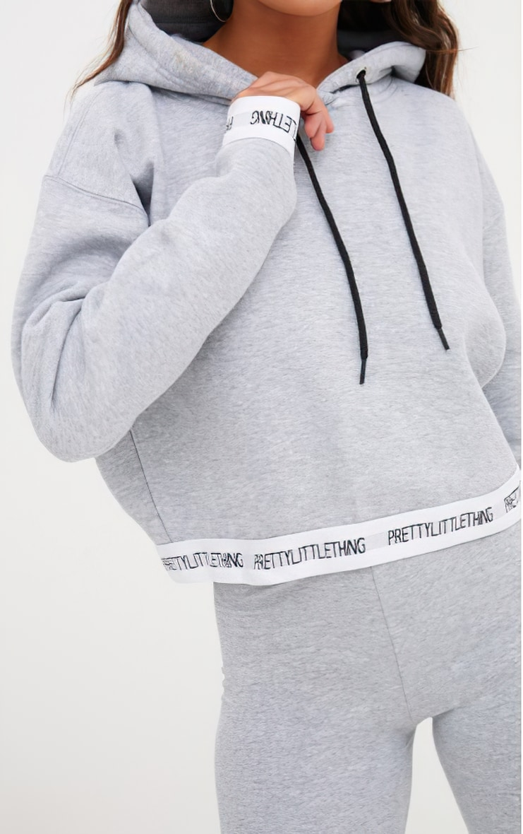 PRETTYLITTLETHING Grey Trim Cropped Hoodie 4