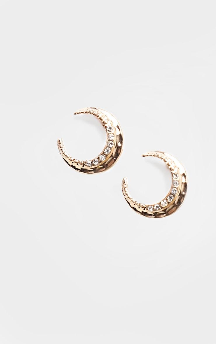 Gold Mini Diamante Moon Shape Earrings 1