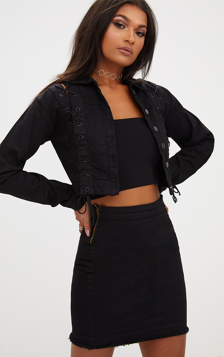 Black Lace Up Cropped Denim Jacket | Denim | PrettyLittleThing