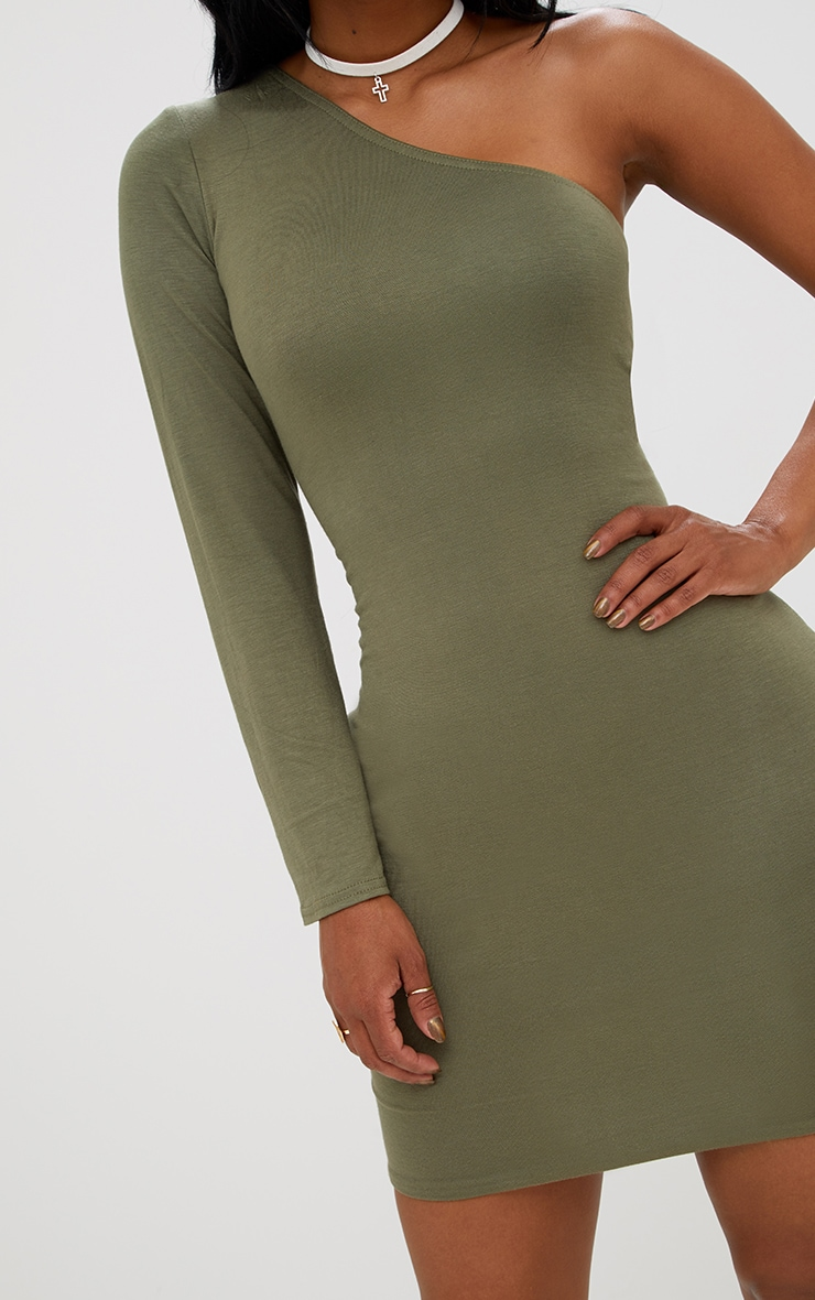 Shape Khaki One Shoulder T Shirt Dress 5