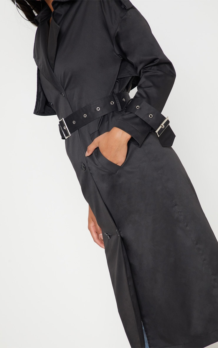 Petite Black Trench Coat  5