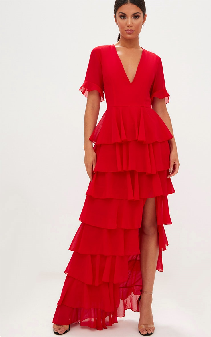 Robe longue rouge en mousseline à volants 4