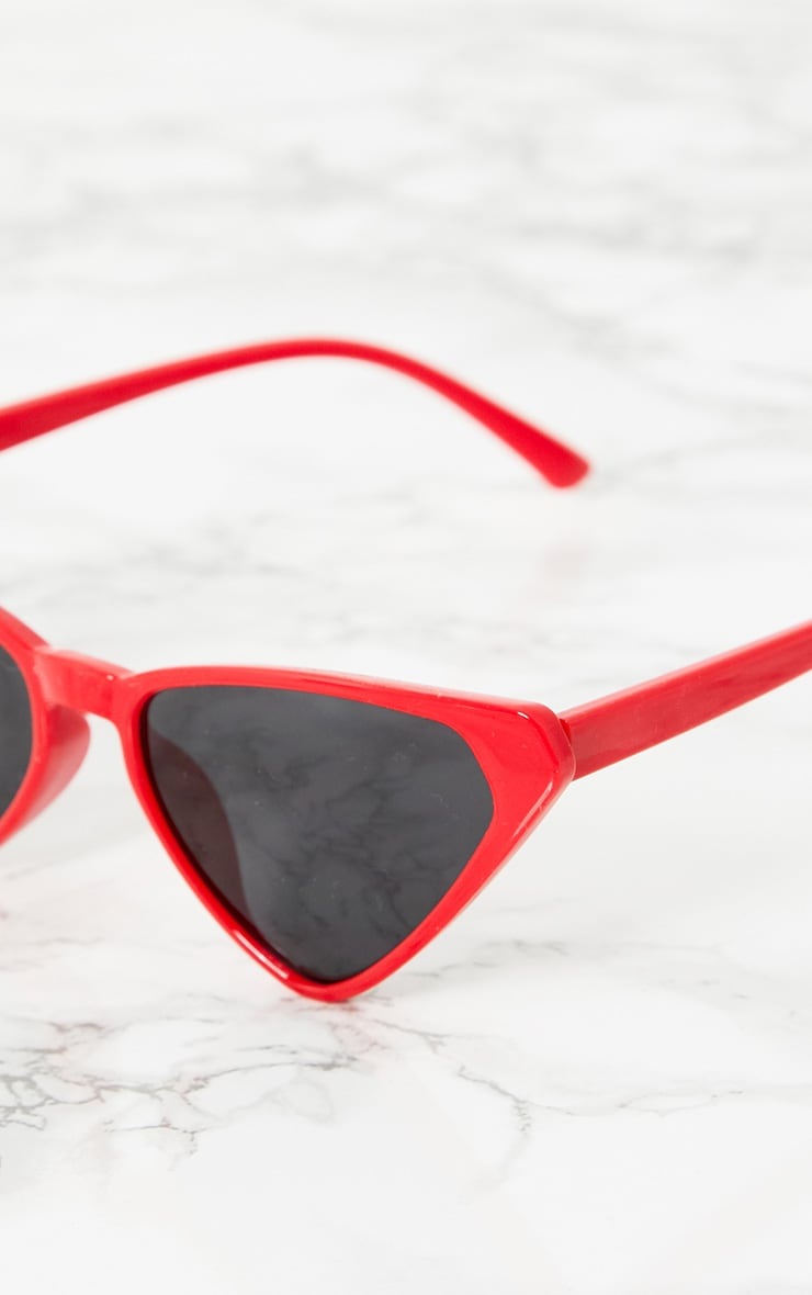 Red Wide Triangle Sunglasses 3