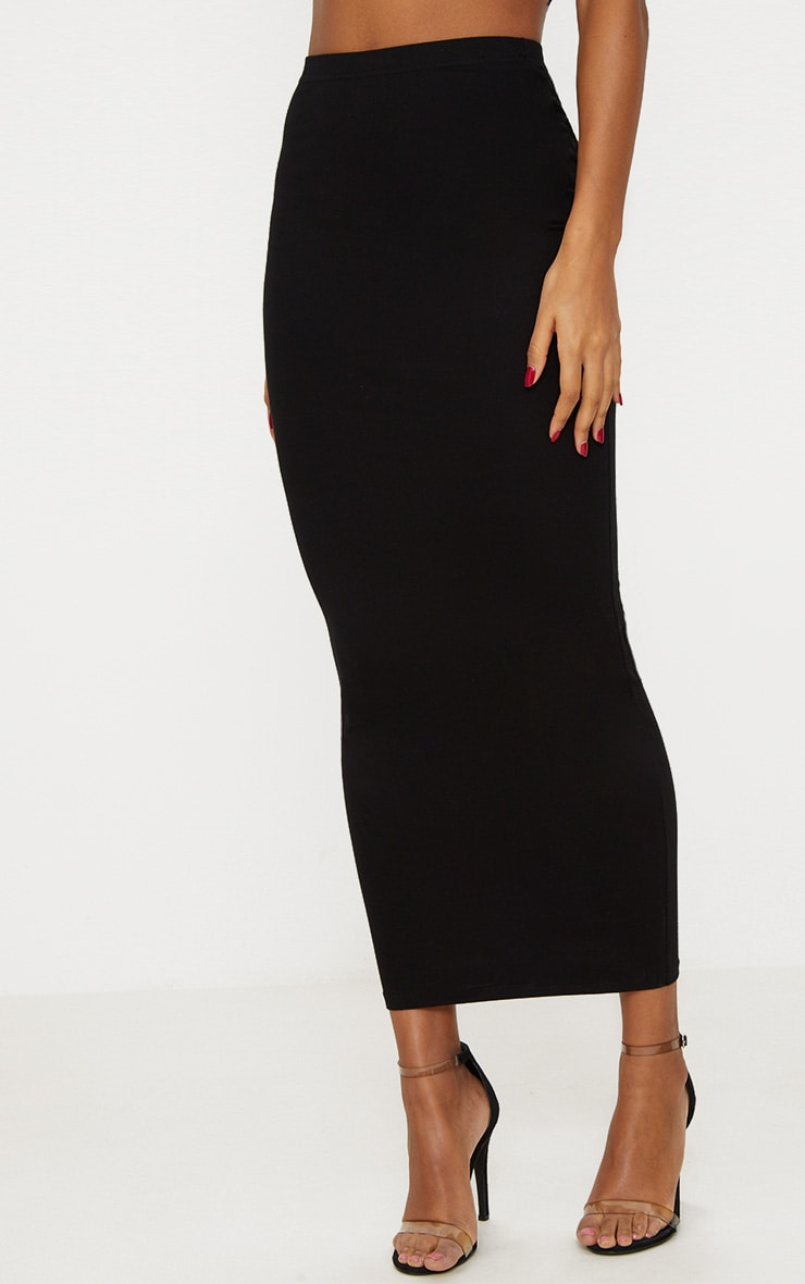 Black Jersey Midaxi Skirt  2