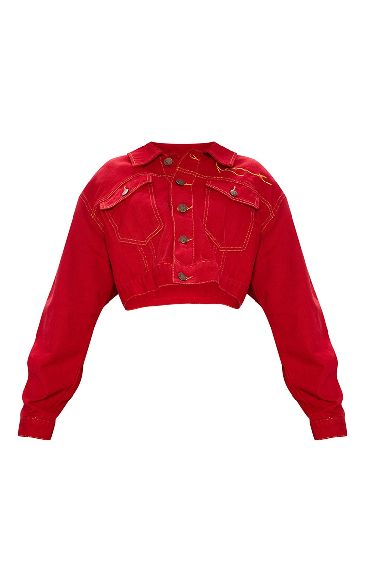KARL KANI Red Embroidered Denim Crop Jacket 4
