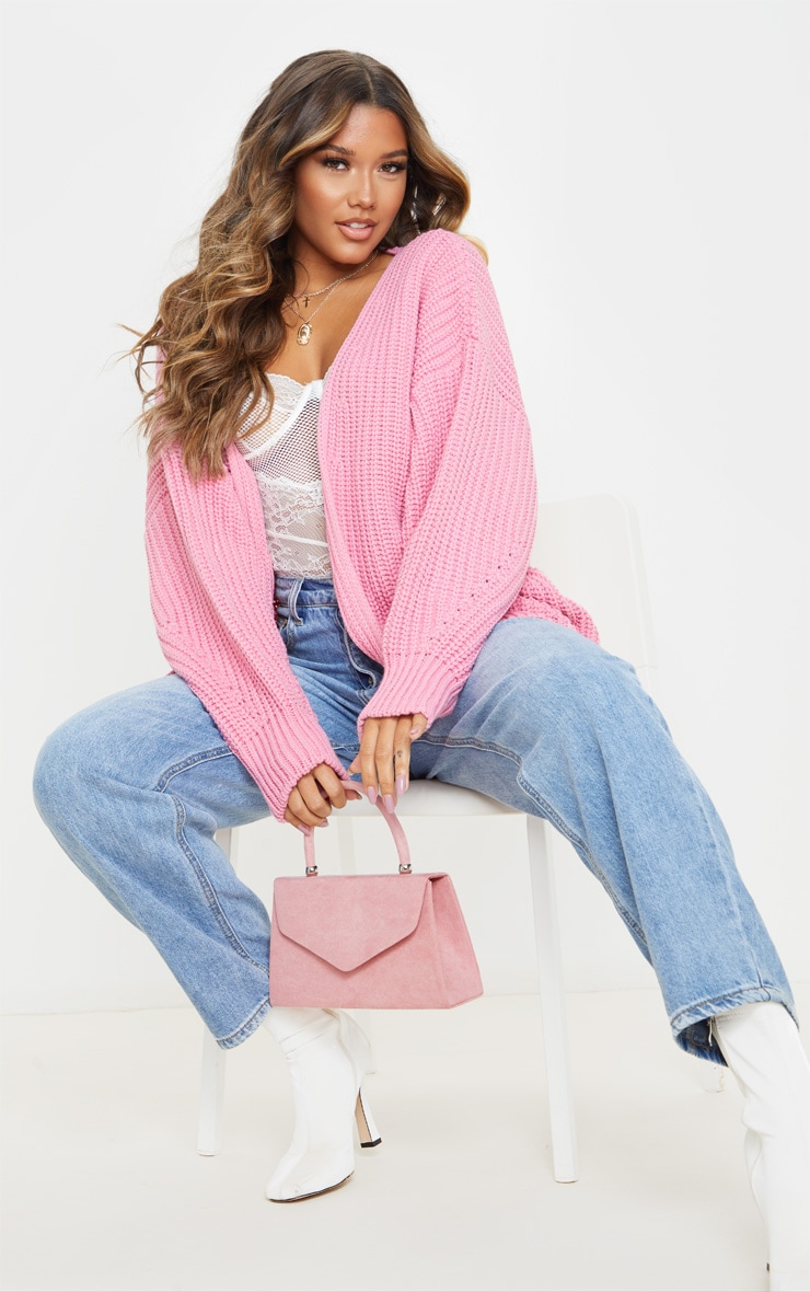 Rose Chunky Knit Slouchy Cardigan 1