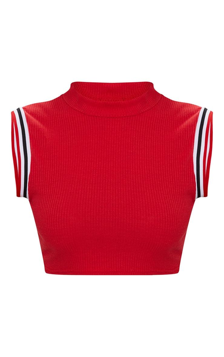 Red Rib Sport Trim Sleeveless Crop Top  3