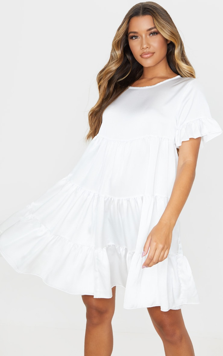 White Frill Sleeve Tiered Smock Dress 1