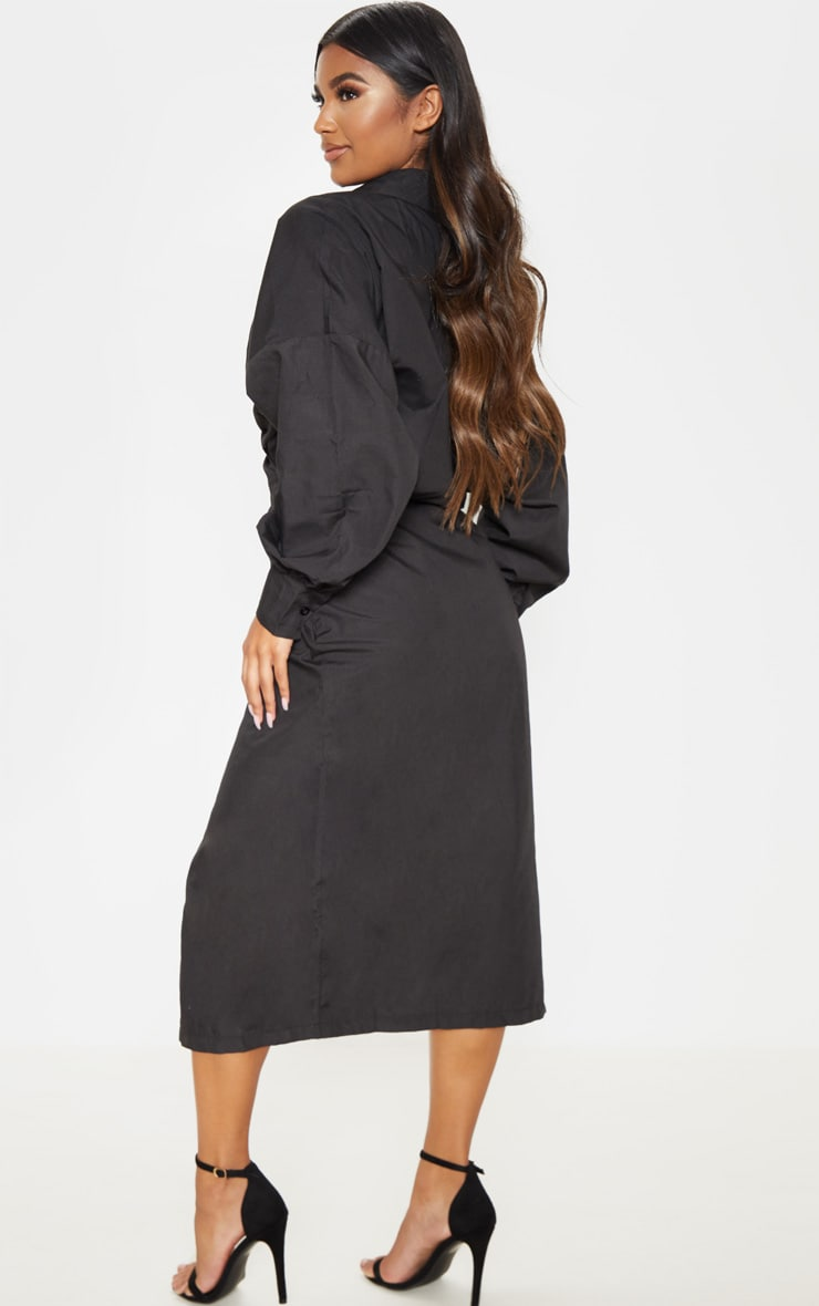 Black Midi Shirt Dress 2