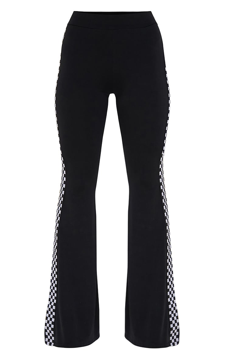 Petite Black Slinky Checkerboard Trim Flared Trousers 3