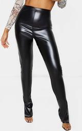 Tall Black Split Hem Flared PU Pants 2