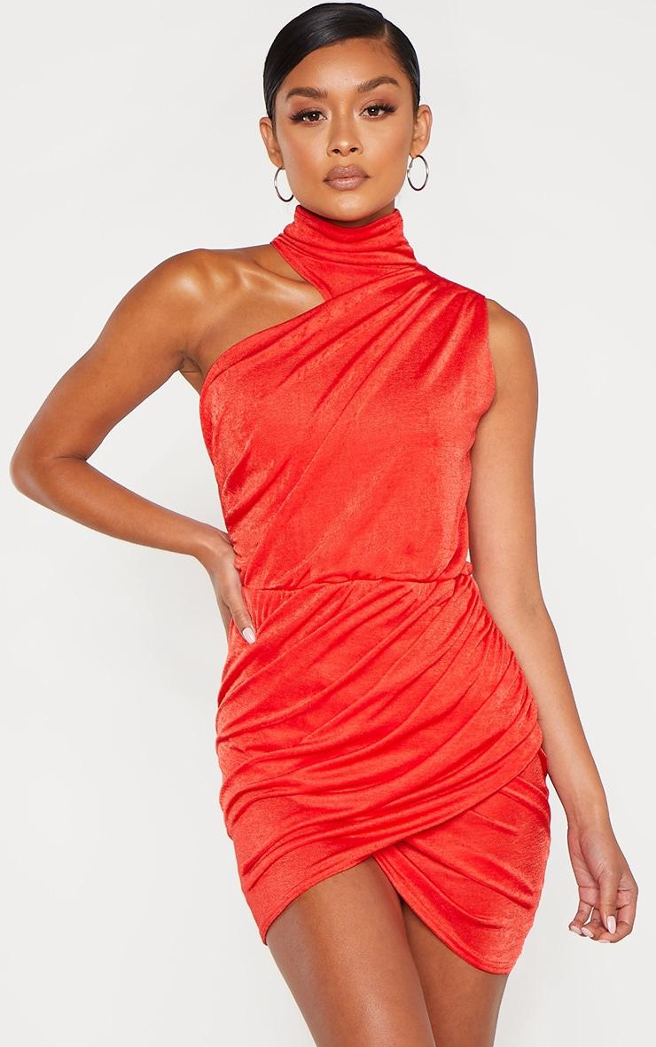 Robe moulante rouge froncée sur le côté à col haut 1