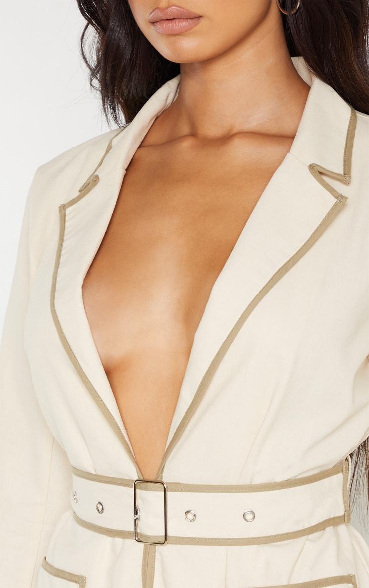 Stone Linen Belted Woven Blazer    5
