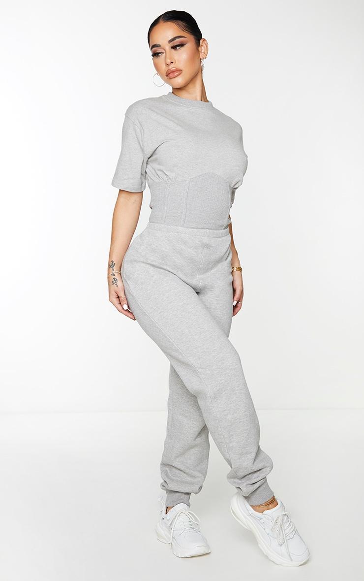 Shape Grey Corset Detail Short Sleeve Sweat Jumpsuit 3