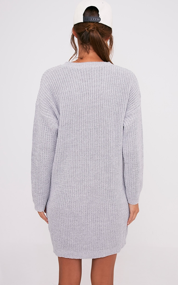 Nico Distressed Grey Oversized Knitted  Dress 2