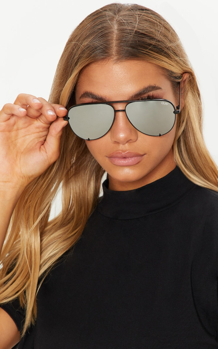 QUAY AUSTRALIA Silver X Desi High Key Aviator Sunglasses