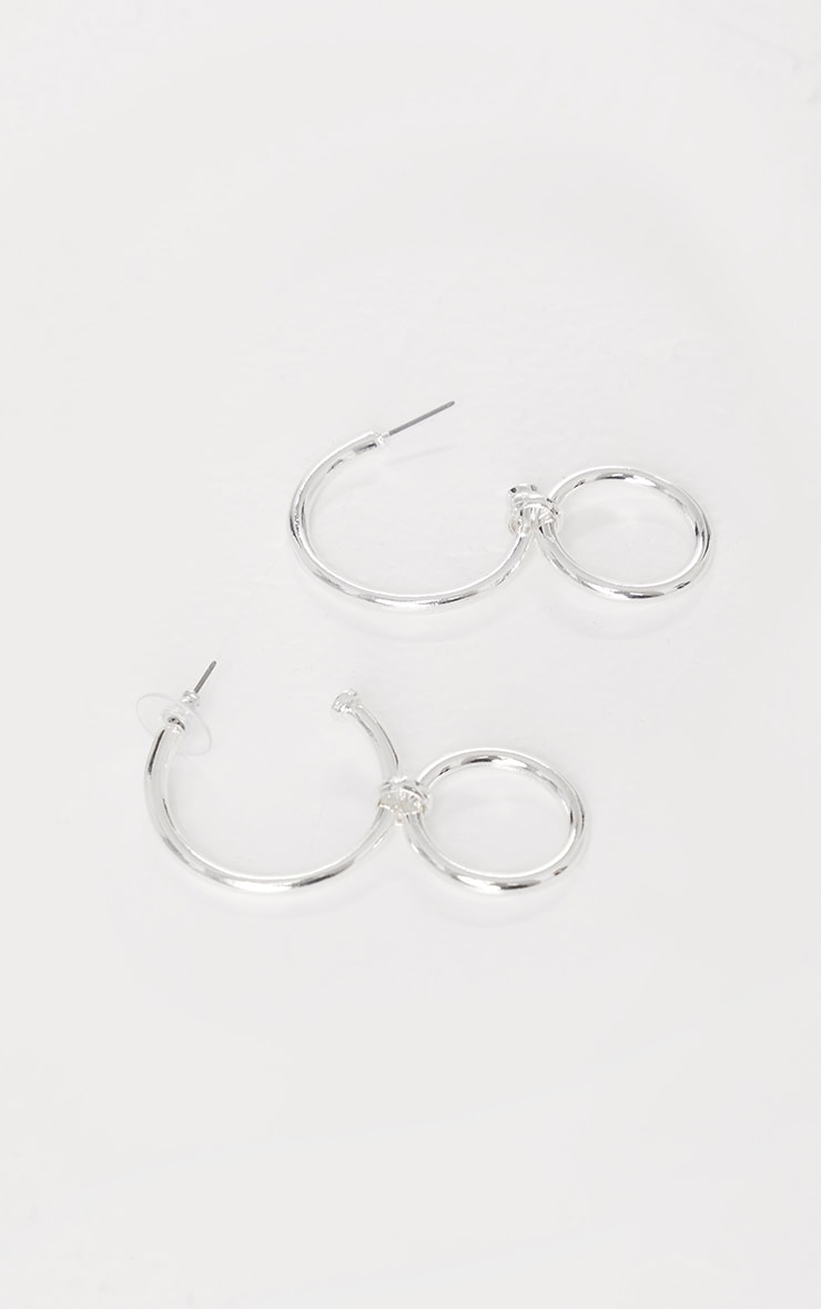 Silver Double Hoop Earrings 2