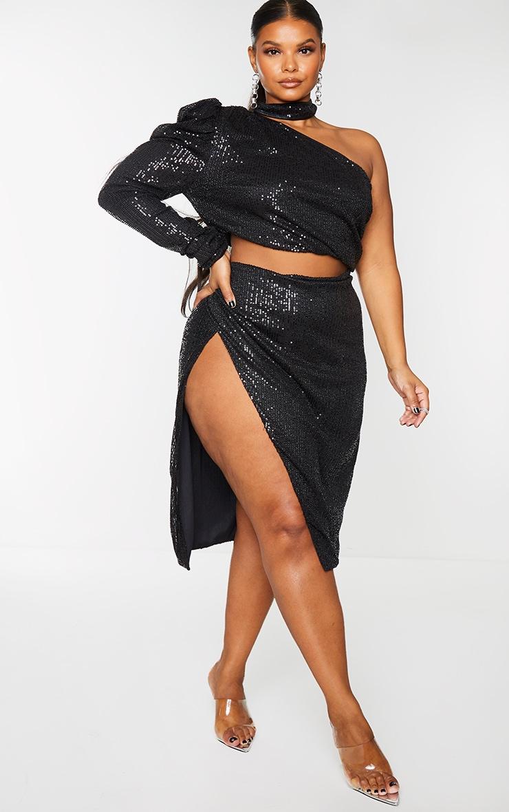 Plus Black Sequin Ruched Side Split Midi Skirt 1