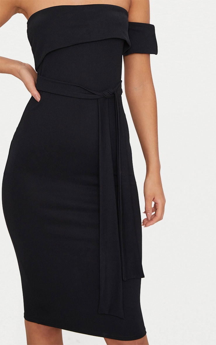 Black One Shoulder Bardot Tie Detail Midi Dress 5