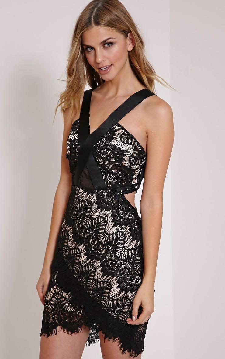 Fai Black Cross Back Lace Bodycon Dress 1
