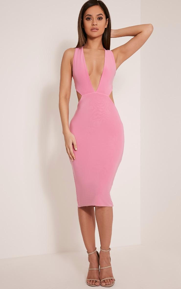Biddy Bubblegum Pink Deep V Plunge Cross Back Midi Dress 1