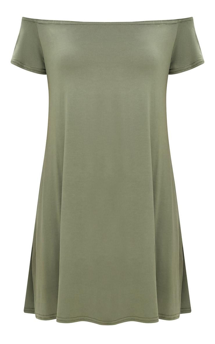 Khaki Jersey Bardot Shift Dress 3