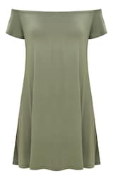 be18acdfbbf3 Basic Khaki Jersey Bardot Shift Dress 3