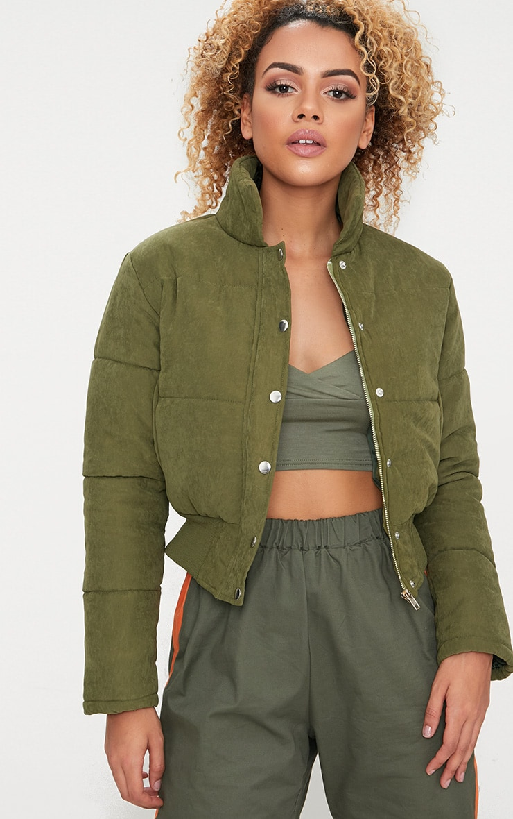 Khaki Peach Skin Cropped Puffer Jacket