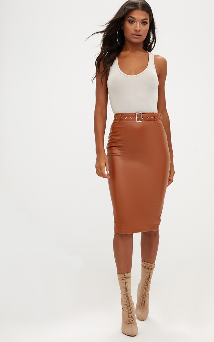 Tan Faux Leather Belted Midi Skirt 1