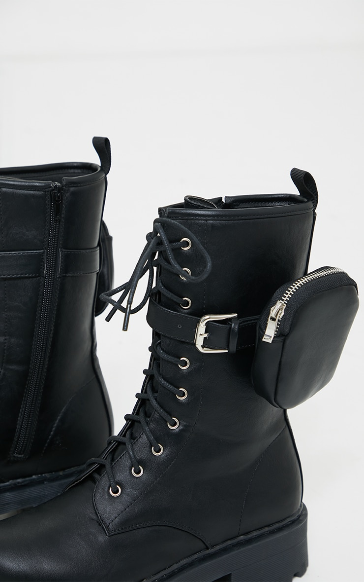 Black PU Matte Double Sole Pocket Calf High Boots 4