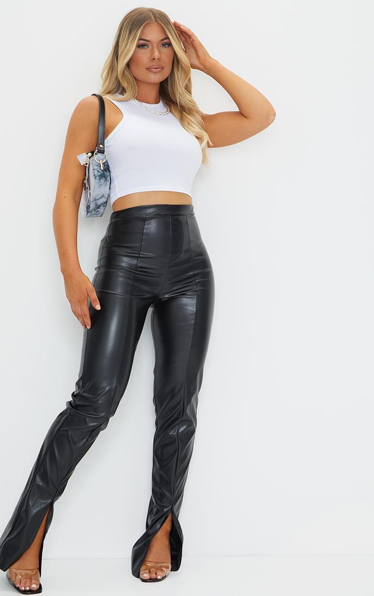 Pantalon en similicuir noir à coutures et détail fendu 1