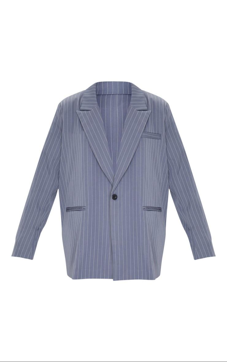 Charcoal Grey Pinstripe Oversized Dad Blazer 6