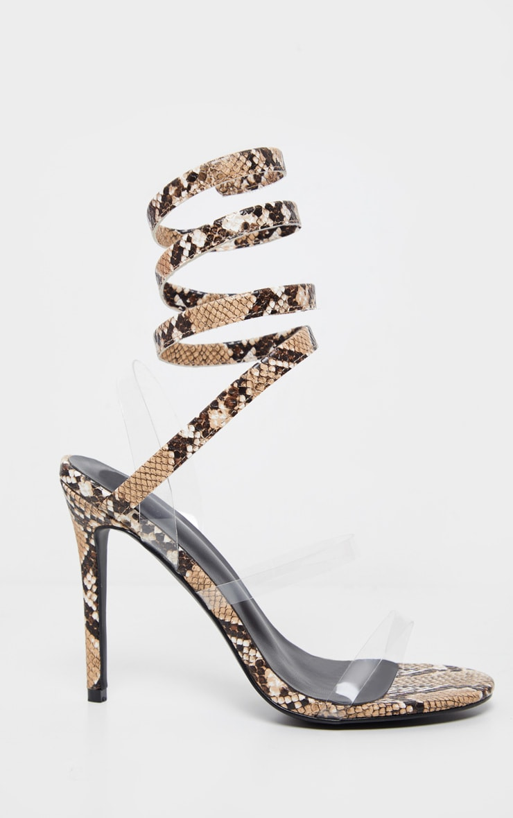 Snake Ankle Wrap Strappy Heeled Sandal 3