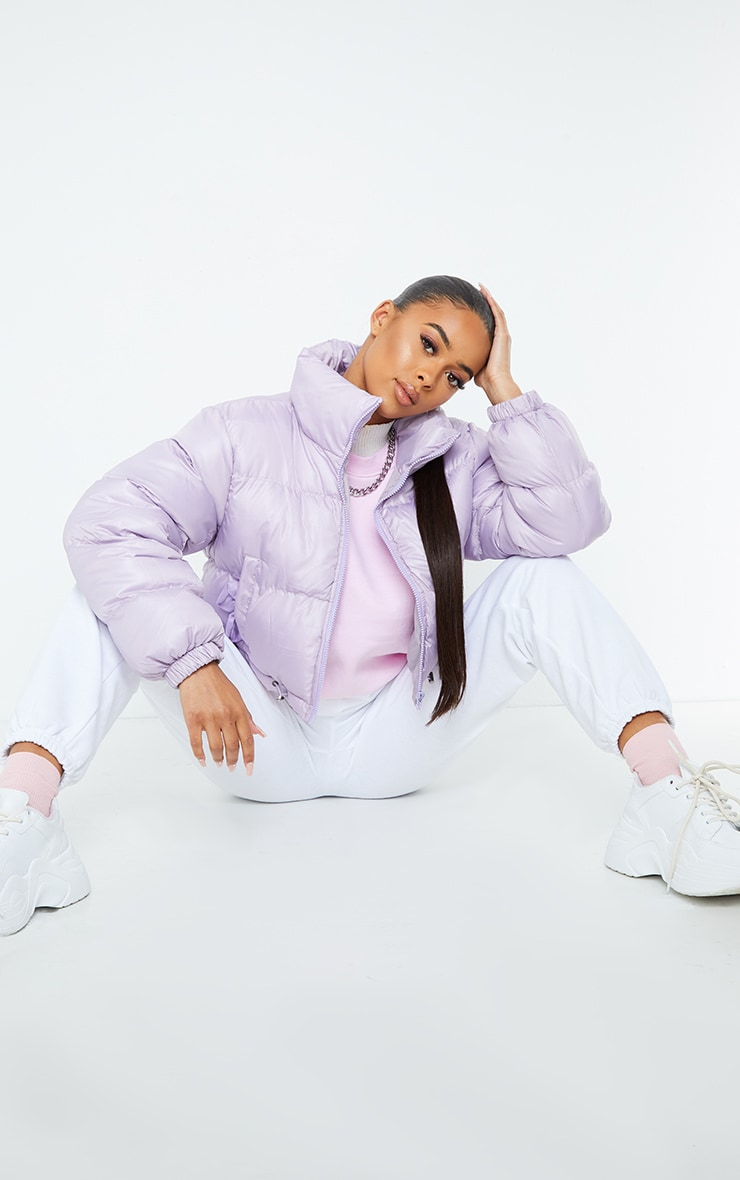 Dusty Lilac Nylon Toggle Hem Puffer Jacket 3