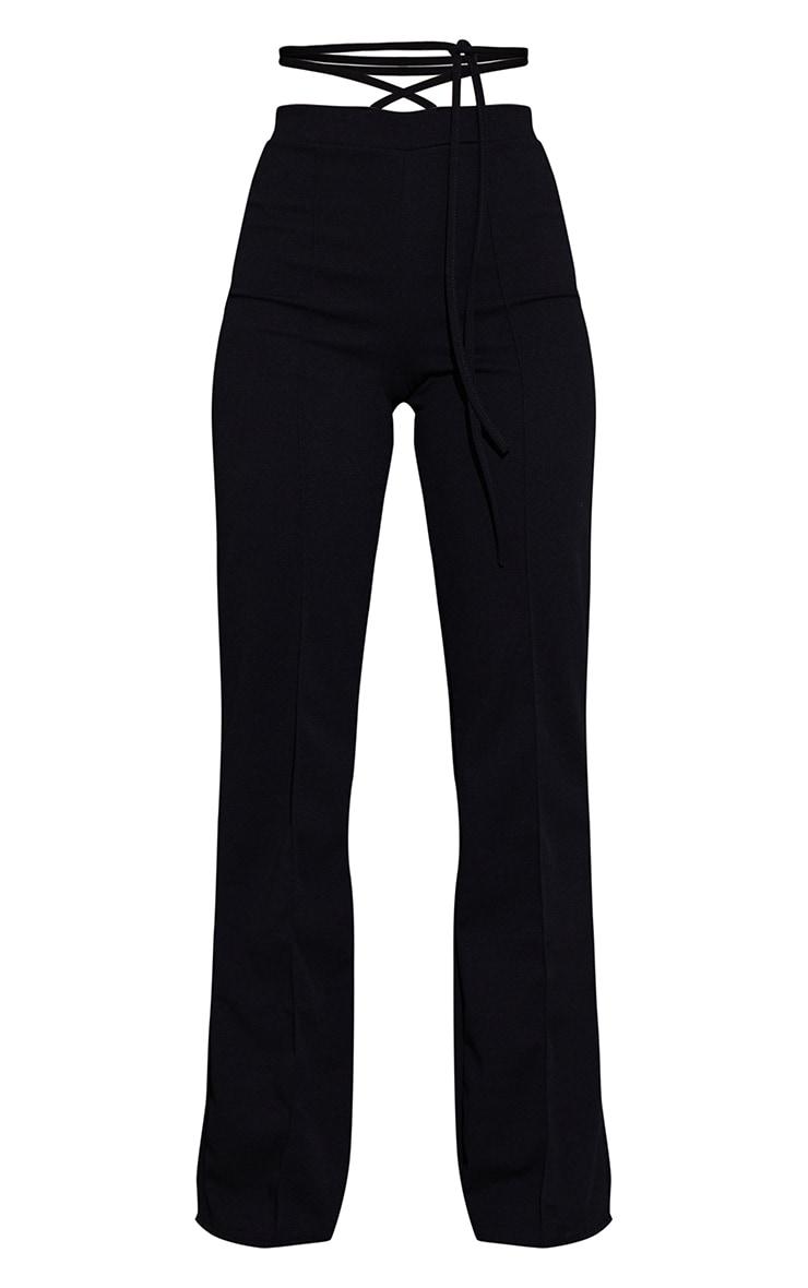 Black Tie Waist Straight Leg Trousers 5
