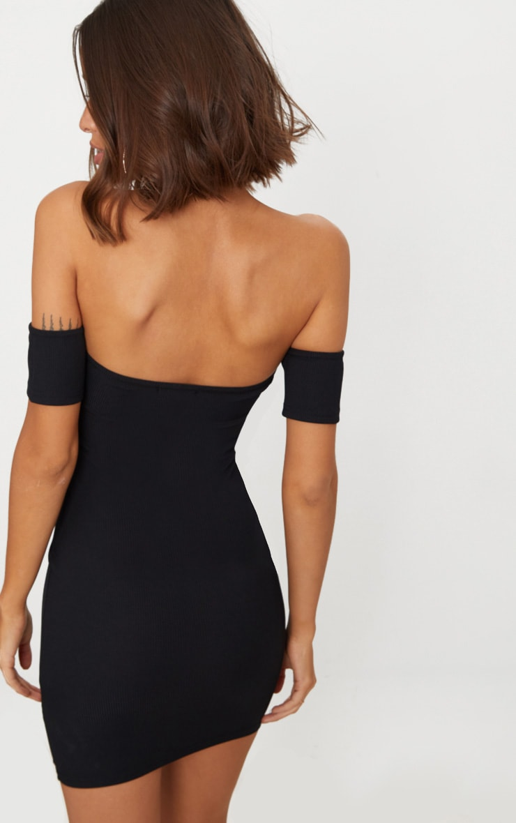 Black Ribbed Button Detail Bardot Bodycon Dress 2