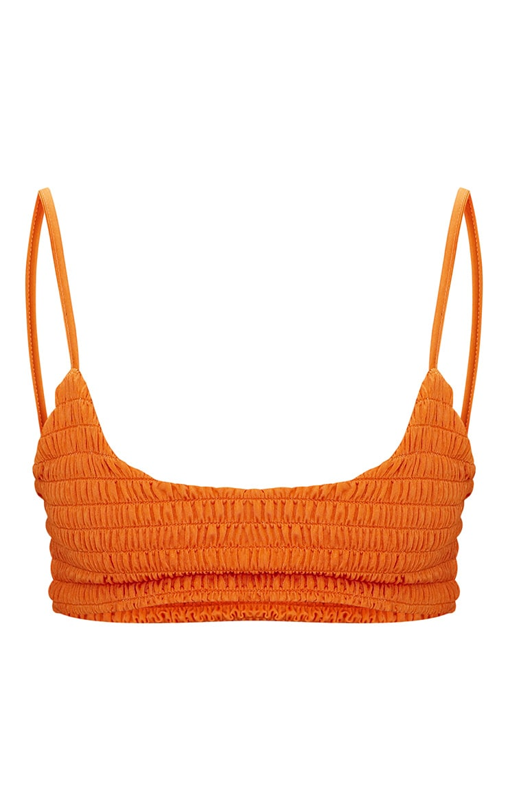Burnt Orange Crinkle Scoop Neck Bikini Top 3