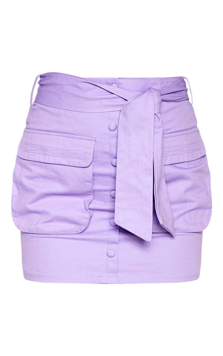 Lilac Utility Tie Waist Mini Skirt 3