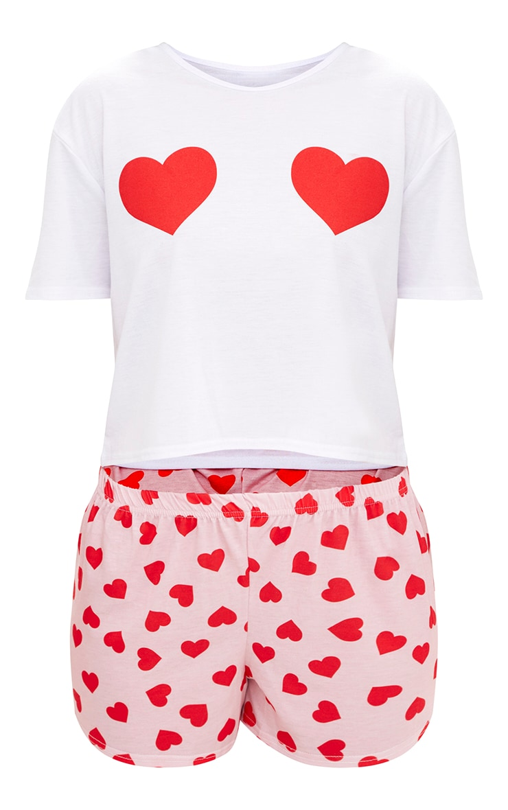 Pink Heart T Shirt PJ Set 3