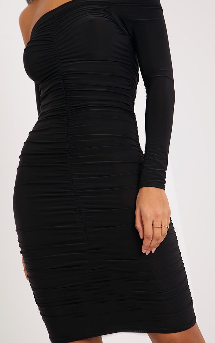 Bekkah Black Slinky Bardot Ruched Bodycon Dress 5