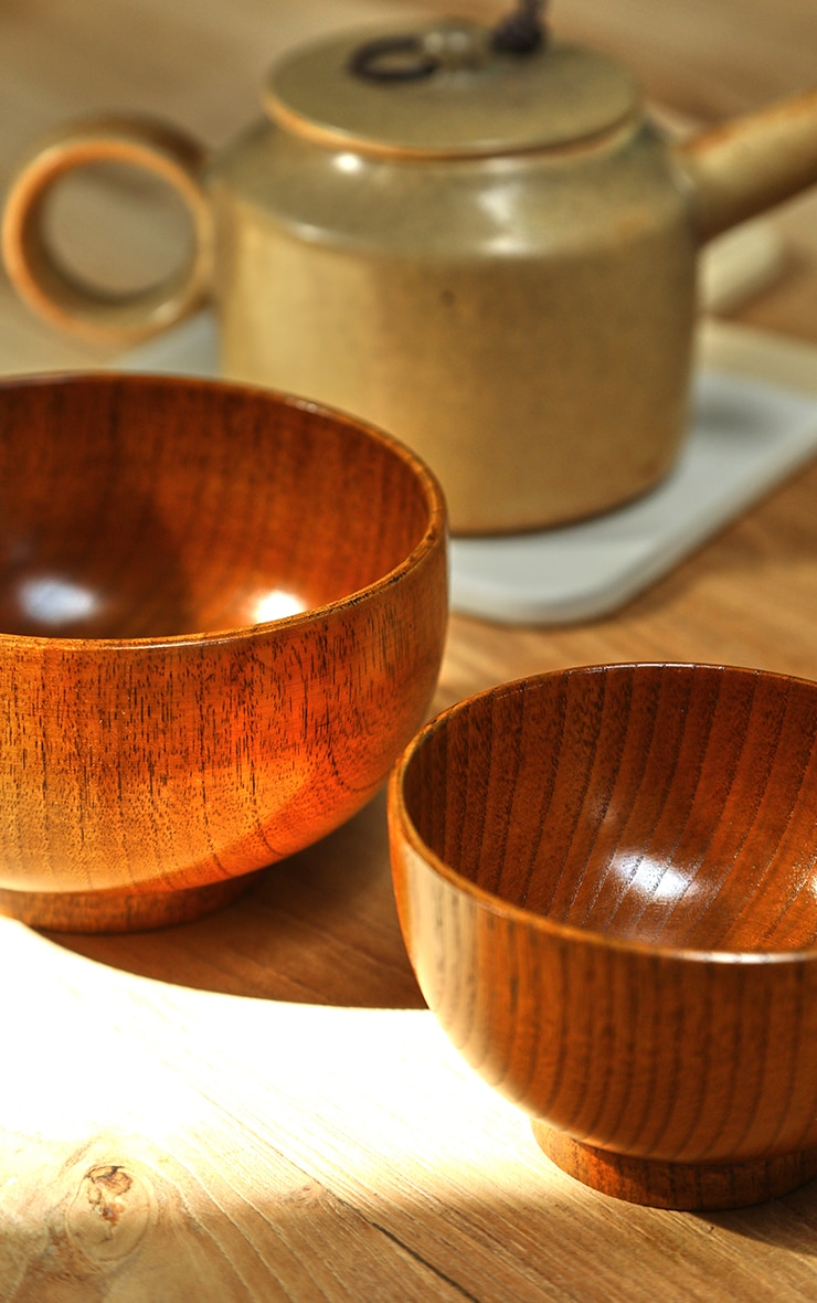 Brown Wooden Bowl 2 Pack 2