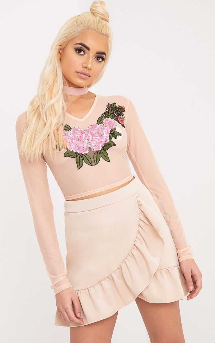 Faula Nude Mesh Sequin Applique Longlseeve Crop Top  1